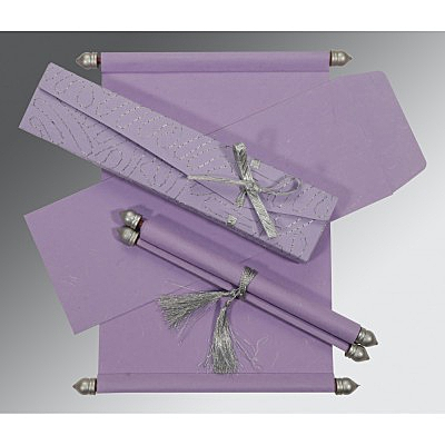 Purple Handmade Silk Wedding Card : CSC-5002O - IndianWeddingCards