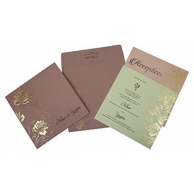 Purple Matte Floral Themed - Embossed Wedding Invitation : CIN-1818