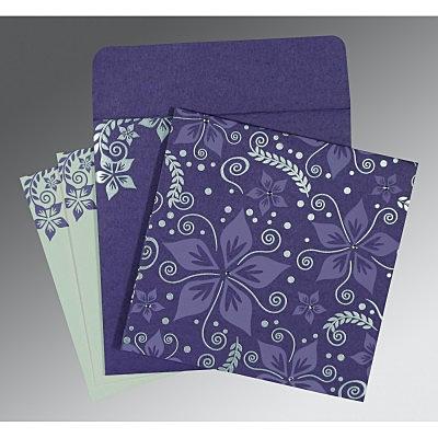 Purple Matte Floral Themed - Screen Printed Wedding Invitation : CC-8240B - IndianWeddingCards