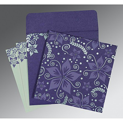 Purple Matte Floral Themed - Screen Printed Wedding Invitation : CD-8240B - IndianWeddingCards
