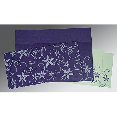 Purple Matte Floral Themed - Screen Printed Wedding Invitation : CI-8225H - IndianWeddingCards