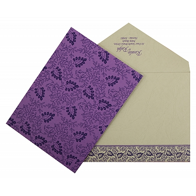 Purple Matte Paisley Themed - Screen Printed Wedding Invitation : CW-811D - IndianWeddingCards