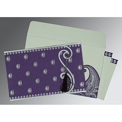 Purple Matte Paisley Themed - Screen Printed Wedding Invitation : CI-8252B - IndianWeddingCards