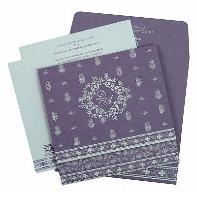 Purple Matte Screen Printed Wedding Invitation : CD-808E - IndianWeddingCards
