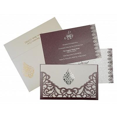 Purple Shimmery Damask Themed - Laser Cut Wedding Card : CS-8262B - IndianWeddingCards