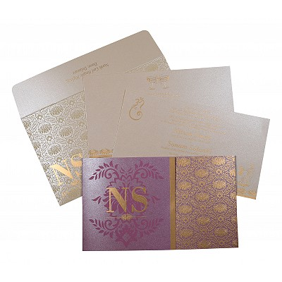Purple Shimmery Damask Themed - Screen Printed Wedding Invitation : CS-8261A - IndianWeddingCards