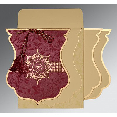 Purple Shimmery Floral Themed - Screen Printed Wedding Card : CD-8229K - IndianWeddingCards