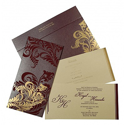 Purple Shimmery Floral Themed - Screen Printed Wedding Card : CRU-8259F - IndianWeddingCards