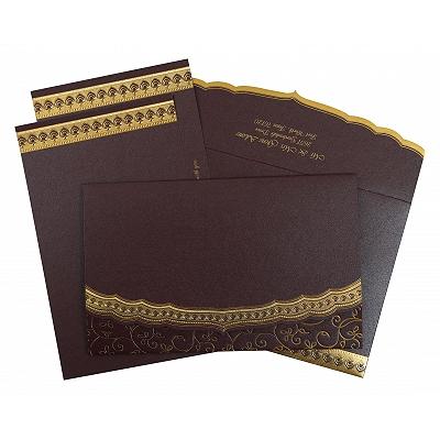 Purple Shimmery Foil Stamped Wedding Invitation : CRU-806E - IndianWeddingCards