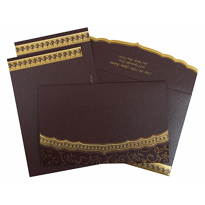 Purple Shimmery Foil Stamped Wedding Invitation : CS-806E - IndianWeddingCards