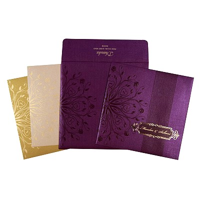 Purple Shimmery Foil Stamped Wedding Invitations : CD-1690 - IndianWeddingCards