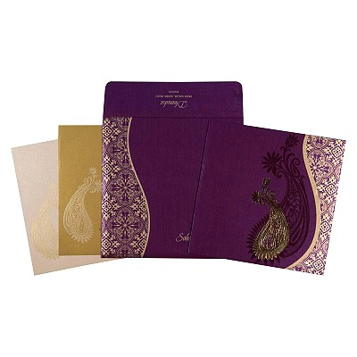 Purple Shimmery Paisley Themed - Foil Stamped Wedding Card : CW-1735 - IndianWeddingCards
