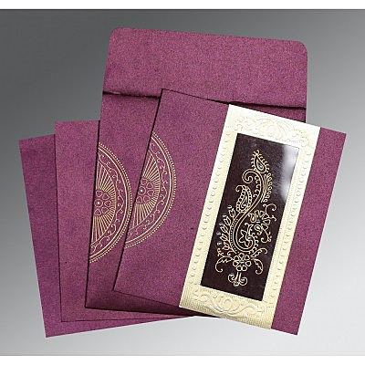 Purple Shimmery Paisley Themed - Foil Stamped Wedding Invitations : CW-8230K - IndianWeddingCards