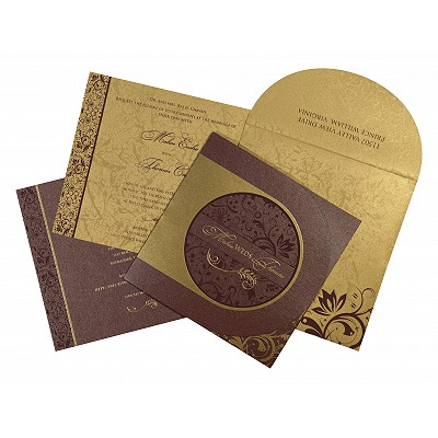 Purple Shimmery Paisley Themed - Screen Printed Wedding Card : CD-8264E - IndianWeddingCards
