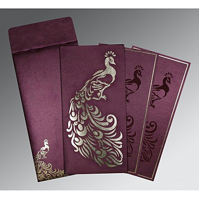 Purple Shimmery Peacock Themed - Laser Cut Wedding Invitation : CD-8255G - IndianWeddingCards