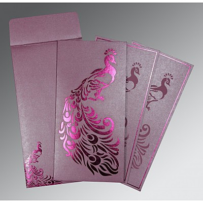 Purple Shimmery Peacock Themed - Laser Cut Wedding Invitation : CW-8255F - IndianWeddingCards