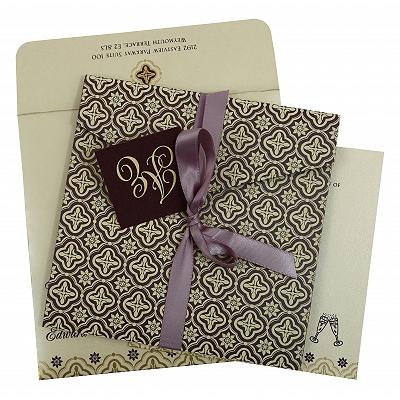 Purple Shimmery Screen Printed Wedding Invitation : CRU-805C - IndianWeddingCards