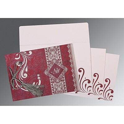Purple Shimmery Screen Printed Wedding Card : CD-8223J - IndianWeddingCards