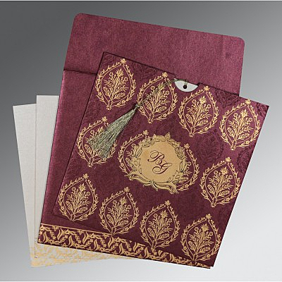 Purple Shimmery Unique Themed - Foil Stamped Wedding Card : CIN-8249I - IndianWeddingCards