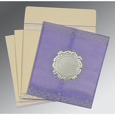 Purple Wooly Embossed Wedding Invitations : CD-8202S - IndianWeddingCards