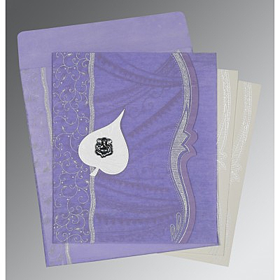 Purple Wooly Embossed Wedding Card : CIN-8210N - IndianWeddingCards