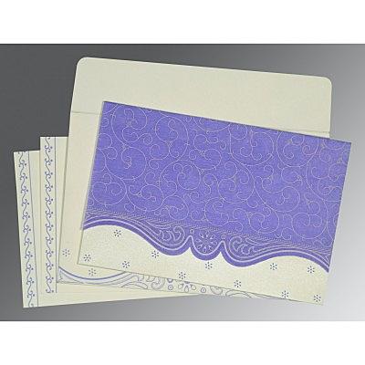Purple Wooly Embossed Wedding Invitation : CRU-8221E - IndianWeddingCards