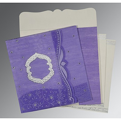 Purple Wooly Floral Themed - Embossed Wedding Invitations : CD-8209C - IndianWeddingCards