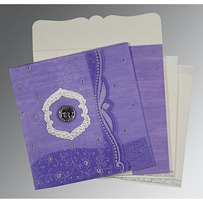 Purple Wooly Floral Themed - Embossed Wedding Card : CS-8209C - IndianWeddingCards