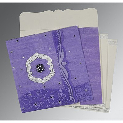 Purple Wooly Floral Themed - Embossed Wedding Invitations : CW-8209C - IndianWeddingCards