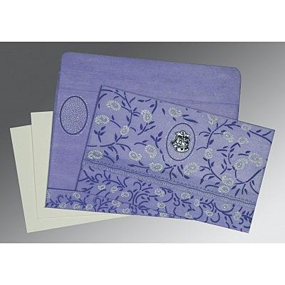 Purple Wooly Floral Themed - Glitter Wedding Card : CC-8206A - IndianWeddingCards
