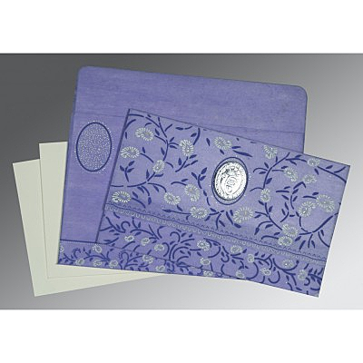 Purple Wooly Floral Themed - Glitter Wedding Card : CS-8206A - IndianWeddingCards