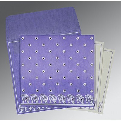 Purple Wooly Floral Themed - Screen Printed Wedding Card : CG-8218H - IndianWeddingCards