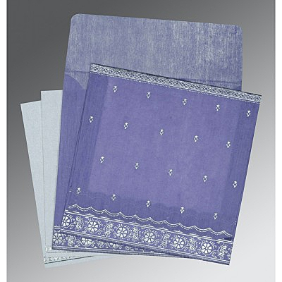 Purple Wooly Foil Stamped Wedding Card : CI-8242C - IndianWeddingCards