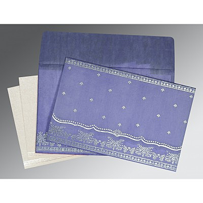 Purple Wooly Foil Stamped Wedding Invitations : CW-8241D - IndianWeddingCards