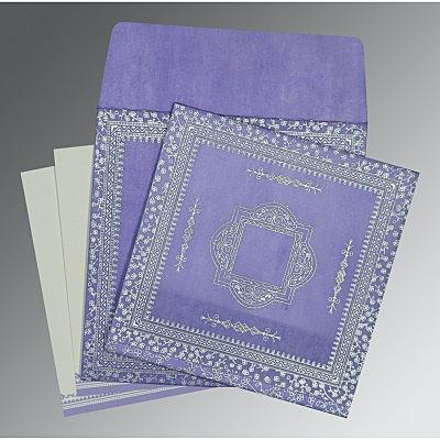 Purple Wooly Glitter Wedding Card : CD-8205F - IndianWeddingCards