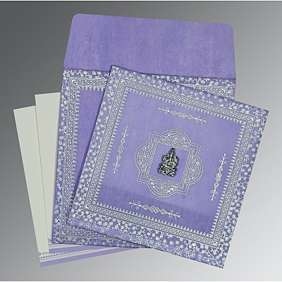 Purple Wooly Glitter Wedding Card : CIN-8205F - IndianWeddingCards
