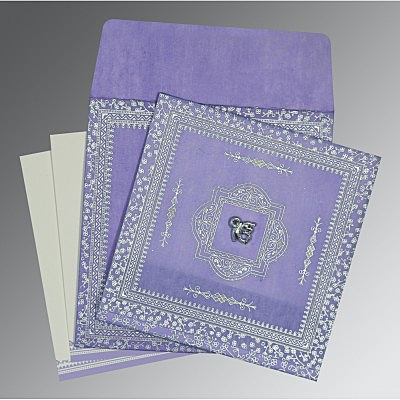 Purple Wooly Glitter Wedding Card : CS-8205F - IndianWeddingCards