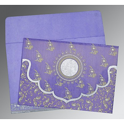 Purple Wooly Screen Printed Wedding Invitation : CD-8207D - IndianWeddingCards