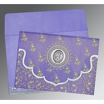 Purple Wooly Screen Printed Wedding Invitation : CI-8207D - IndianWeddingCards