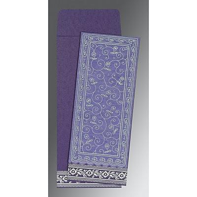 Purple Wooly Screen Printed Wedding Invitation : CIN-8220P - IndianWeddingCards
