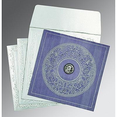 Purple Wooly Screen Printed Wedding Card : CRU-8214O - IndianWeddingCards