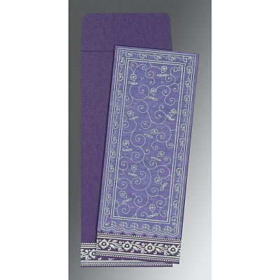 Purple Wooly Screen Printed Wedding Invitation : CS-8220P - IndianWeddingCards