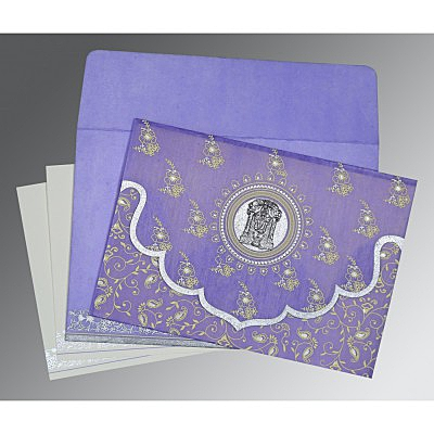 Purple Wooly Screen Printed Wedding Invitation : CSO-8207D - IndianWeddingCards