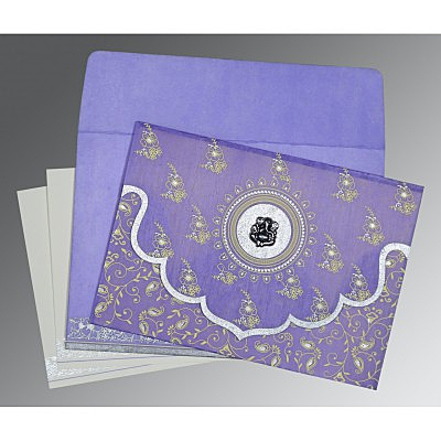 Purple Wooly Screen Printed Wedding Invitation : CW-8207D - IndianWeddingCards