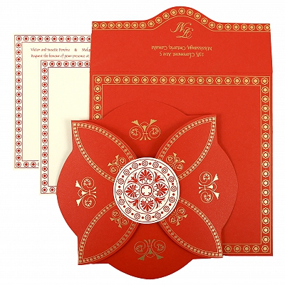 Red Butterfly Themed - Screen Printed Wedding Invitation : CG-820B - IndianWeddingCards