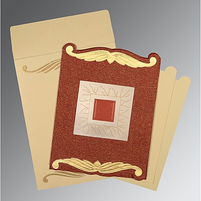 Red Handmade Cotton Embossed Wedding Card : CD-1412 - IndianWeddingCards
