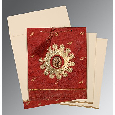 Red Handmade Cotton Embossed Wedding Invitation : CI-1264 - IndianWeddingCards