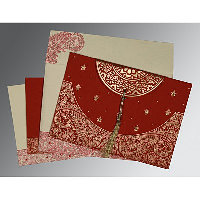 Red Handmade Cotton Embossed Wedding Card : CIN-8234L - IndianWeddingCards