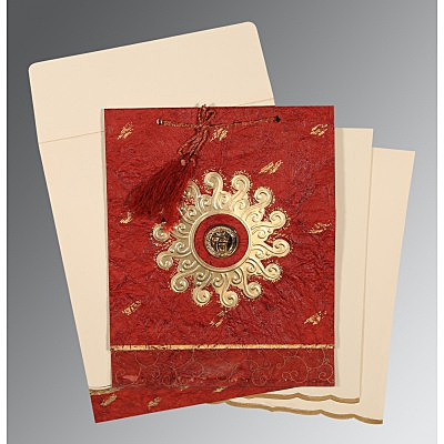 Red Handmade Cotton Embossed Wedding Invitation : CS-1264 - IndianWeddingCards