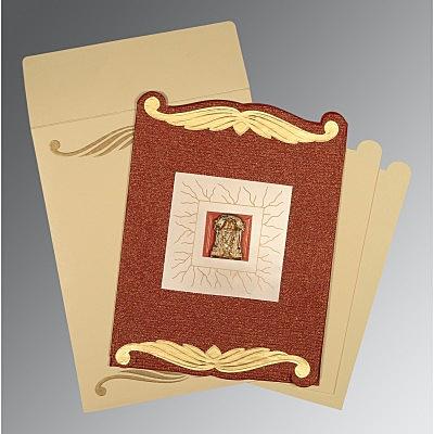 Red Handmade Cotton Embossed Wedding Card : CSO-1412 - IndianWeddingCards